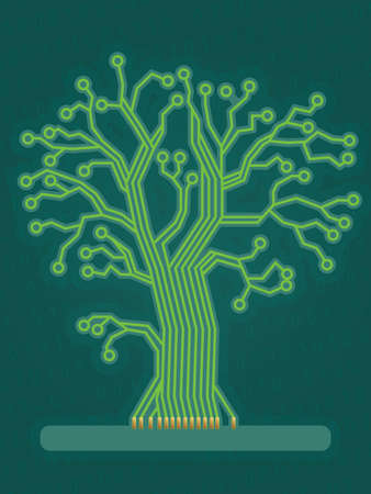 Green Circuit Board Tree Stock Vector - 15173430