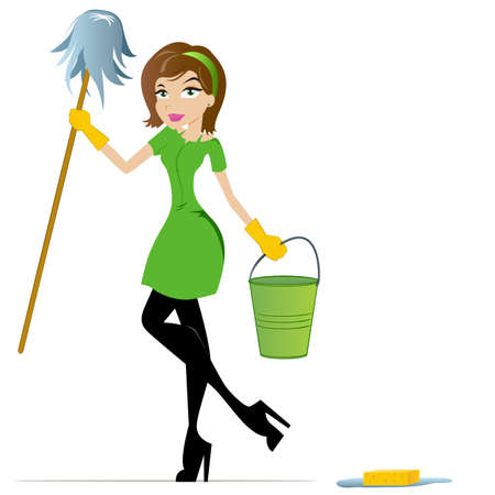 mop: Cleaning Woman with Mop and Bucket