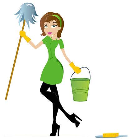 femme nettoyage: Femme de nettoyage avec seau et la vadrouille