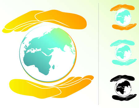Earth Held in Hands Vector