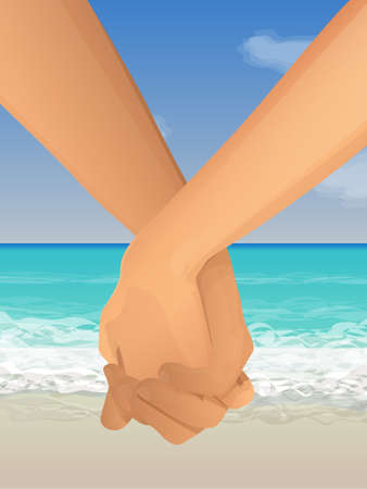 Couple holding hands at the beach Vector