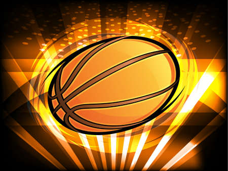 Basketball Icon with Bright Light Beams Spinning Illustration