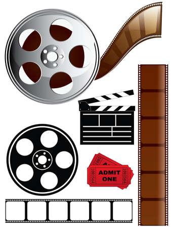Film and Movie Icon Set Illustration