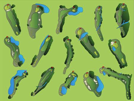 ゴルフコースの空中イラスト