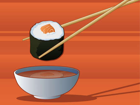 dipping: Sushi Dipping in Soy Sauce Illustration
