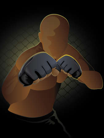 Ultimate FighterMixed Martial Artist in a ready to brawl stance Vector