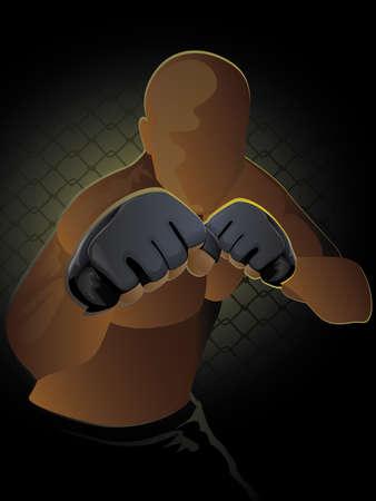 Ultimate Fighter / Mixed Martial Artist in un pronto a posizione rissa Archivio Fotografico - 15379627