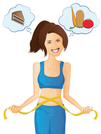 waist weight: Cute girl measuring her waist and deciding between chocolate or salad Illustration