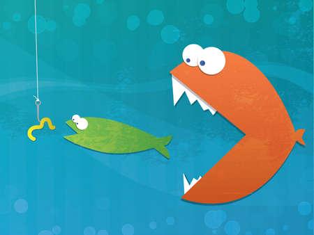 pez dorado: Fish cadena alimentaria Vectores
