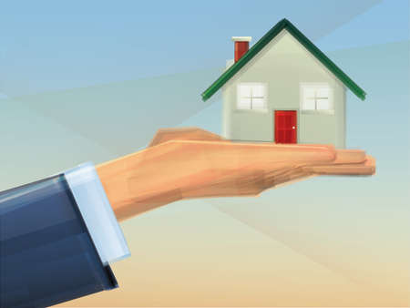 House held in Hand/Home Ownership Stock Vector - 15526077