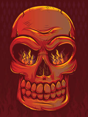Fiery Skull with Flames Vector