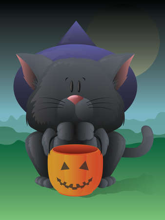 Trick or Treating Cat Vector