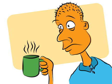 Man Who Needs Coffee Cartoon Vector