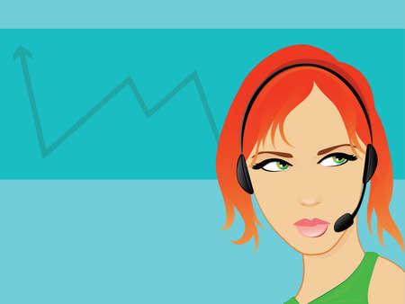 headset business: Telemarketing Business Woman Operatore Parlare su un auricolare a mani libere