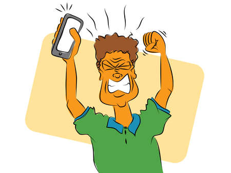 Frustrated Smart Phone User Vector