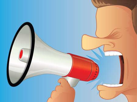 ruidoso: Gritando con un meg�fono Vectores