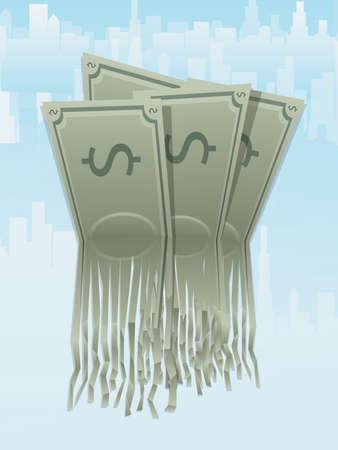 shredding: Money Shredding Illustration