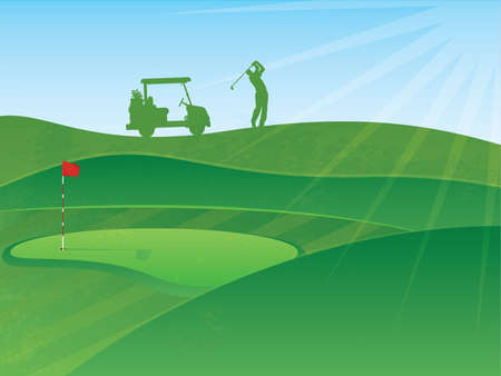golf cart: Golf Course Hills Background with a Golfer and Cart in the Distance Illustration