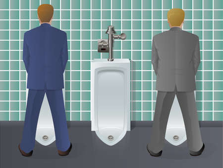 Men Using Urinal Illustration