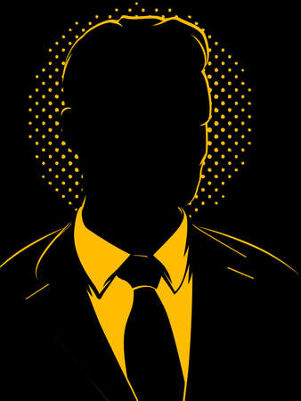 looking away: Retro Comic Business Man Silhouette Illustration