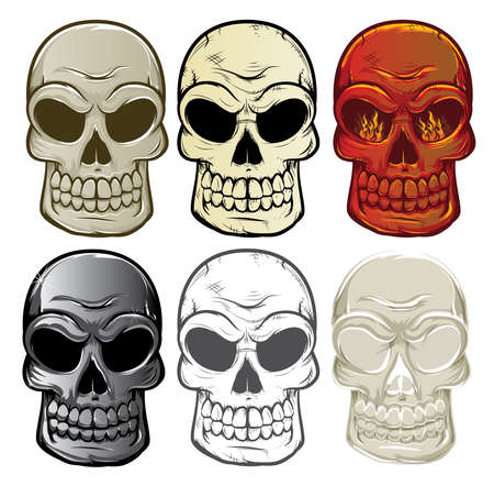 fire skull: Skull Collection Illustration