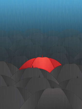 Red Umbrella in a Crowd Vector