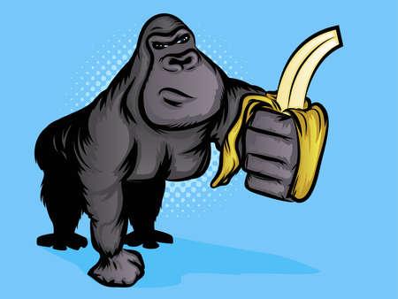 고릴라 바나나를 들고 일러스트