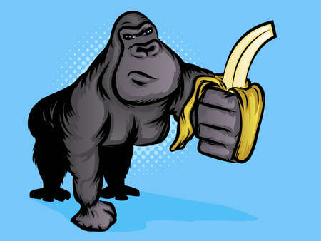hairy male: Gorilla Holding a Banana