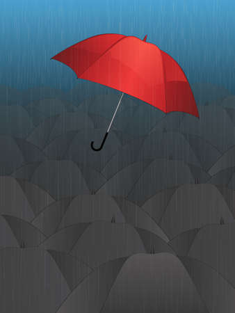 Flying Single Red Umbrella Vector