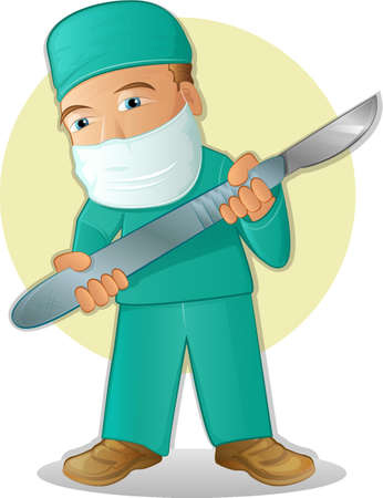 scalpel: Illustration of a doctor or surgeon holding a scalpel