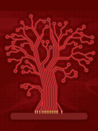 Red Digital Circuit Tree Vector