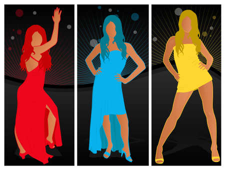 Beautiful women fashion poses Stock Vector - 15932693