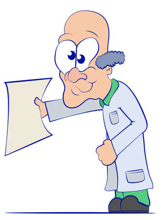 research paper: Cartoon Doctor in a Lab Coat Holding a Blank Sheet of Paper