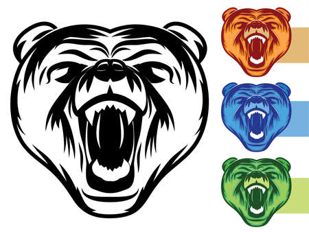 growling: Bear Mascot Icon Illustration