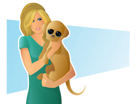 rescue dog: Girl Holding Puppy Illustration