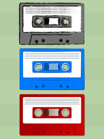 Various Old Cassette Tape Icons Vector