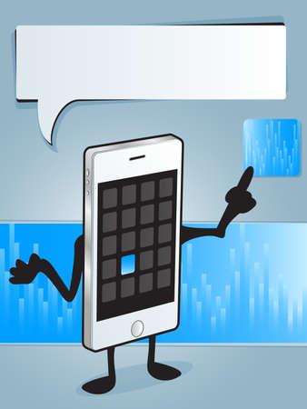 telefono caricatura: App Smart Phone Vectores