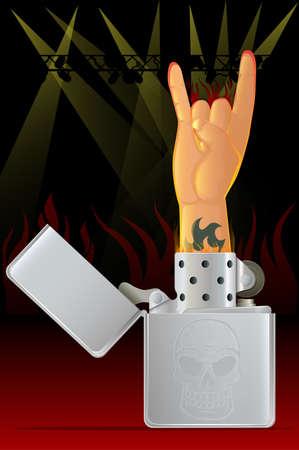 encore: Rock ConcertRock N Roll Hand and Lighter Illustration
