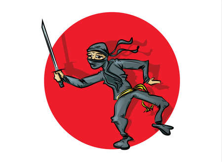 crouching: Ninja Cartoon
