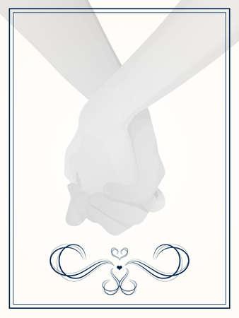hand holding card: Bruiloft paar hand in hand  lay-out voor huwelijksuitnodiging, sparen de datum, of dank u kaarten Stock Illustratie