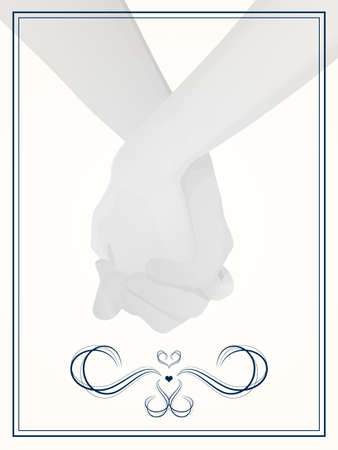 Wedding couple holding hands/layout for wedding invitation, save the date, or thank you cards