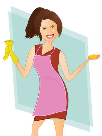 Cleaning Lady, Housekeeper Character with Sponge and Gloves Ilustracja