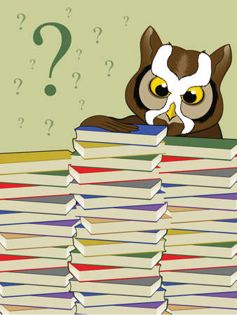 Owl Character Behind a Stack of Books Vector