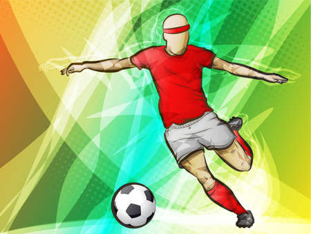 futbol: Soccer Player on Abstract Background