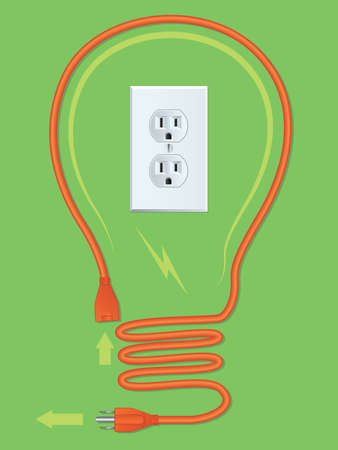 Extension Cord Light Bulb Vector