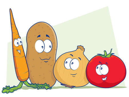 Plantaardige Cartoon Characters Stock Illustratie