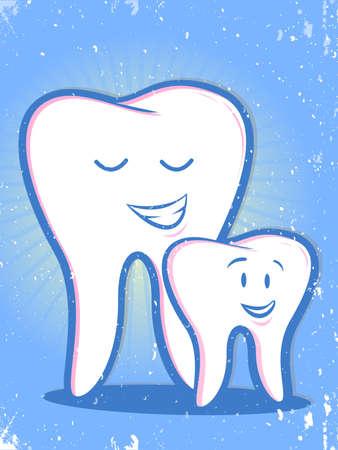 Retro Teeth Family Cartoon