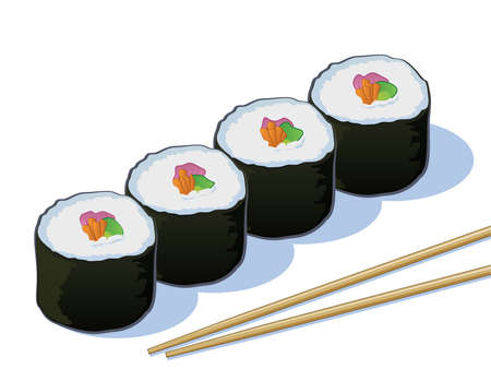 Sushi Rolls with Chop Sticks Vector