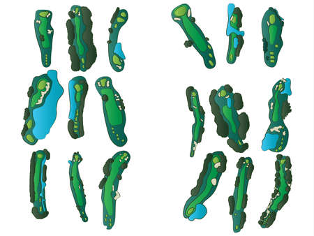 Golf Hole Layouts Vector