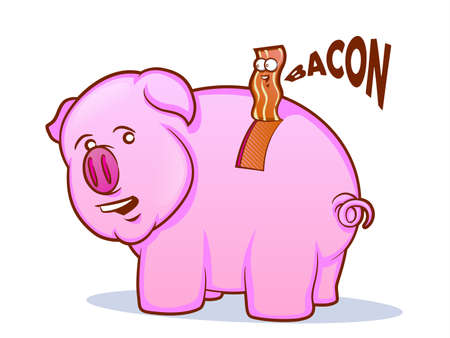 Bacon Pig Cartoon Vector